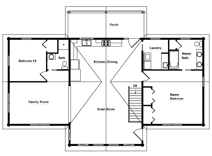 The Rockford First Floor Plan by White Log Homes
